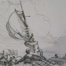 Flying over Europe. Sketch.30.