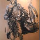 Street vendor charcoal. 37x59. 1500