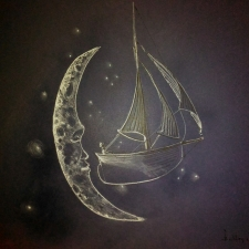 Moonsail. 20x26. Chalk on blue paper. 700