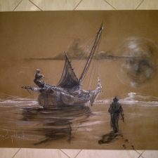 Wading in Moonlight~3ft x 5ft~chalk & charcoal on brown paper~$400