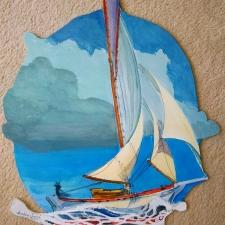 Downwind Whale. 20x25. Acrylic on wood. 400