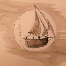 Full moon sail. 21x26. Pen, ink, wash. 600