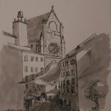 Orvieto Whale. 18x21. Pen, ink. 400