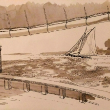 View from the Deck. 10x22. Pen.ink.wash. $200
