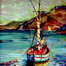 Mediterranean fishing boat. 10x12. Oil on canvas. Sold