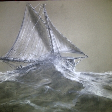 Stormy Sea 20in x 26in~charcoal on gray paper~$300