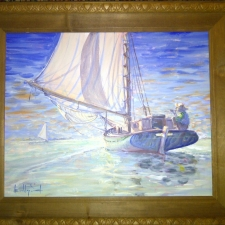 Calm Sail~25in x 22in~oil,$500