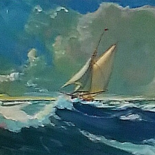 Sunlit sail. 10x12.280